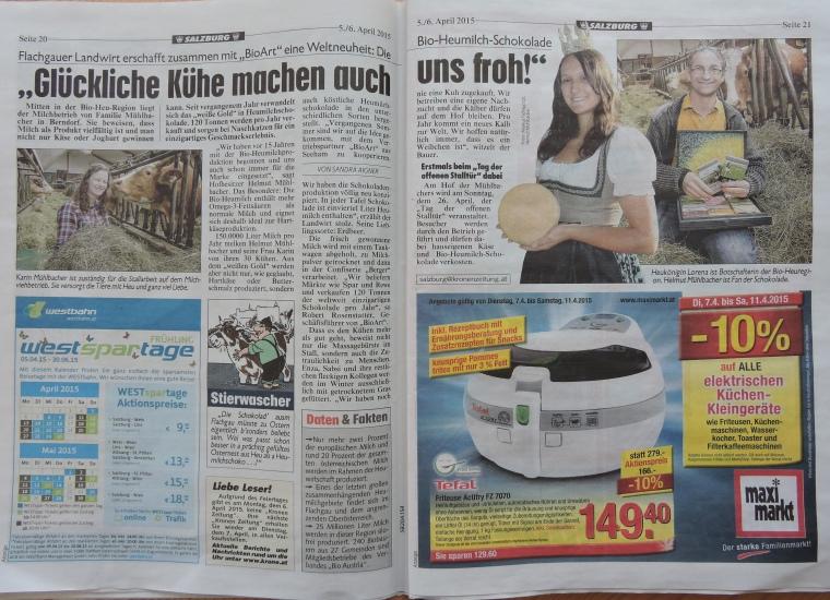 großer Bericht am Ostersonntag in der Kronen Zeitung mit Vorankündigung zu Tag der offenen Stalltür