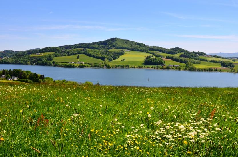 Ein Blick auf den Obertrummersee und Buchberg, fotografiert am 11.05.2015
