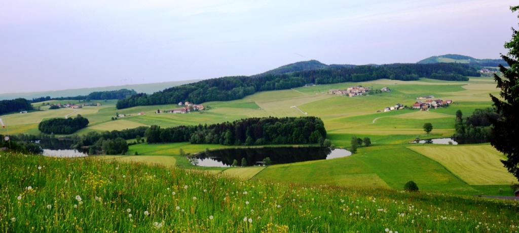 Panoramablick vom Buchberg auf die Egelseen in Mattsee fotografiert am 12.05.2015