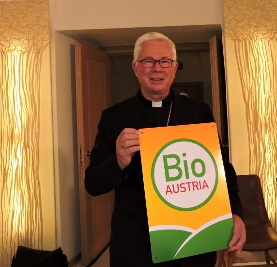 aus persönlicher Überzeugung hat Franz Lackner gleich Werbung für Bio gemacht