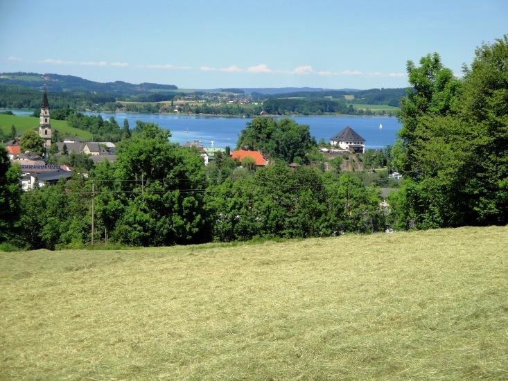 fertiges Heu wartet in Mattsee auf den Abtransport mit Blick auf den Kirchturm und das Schloss Mattsee mit dem See im Hintergrund, fotografiert im Mai 2014