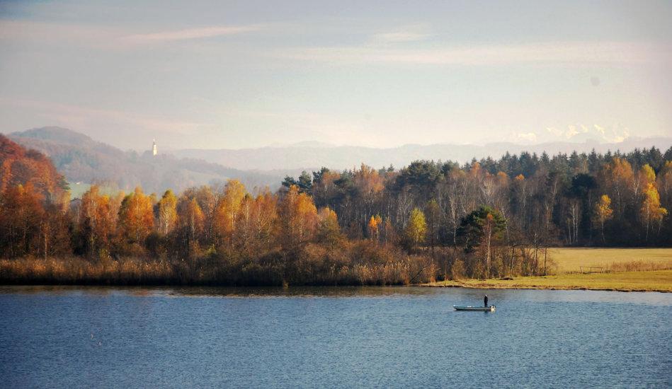 Ein Foto wie ein Gemälde vom Herbst am Ibmer See